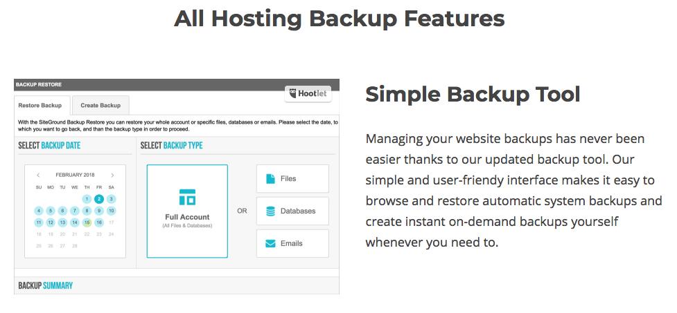 backup de tu sitio web con siteground - beneficios